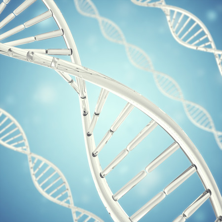 Synthetische, künstliche DNA-Molekül, das Konzept der künstlichen Intelligenz. 3D-Rendering.