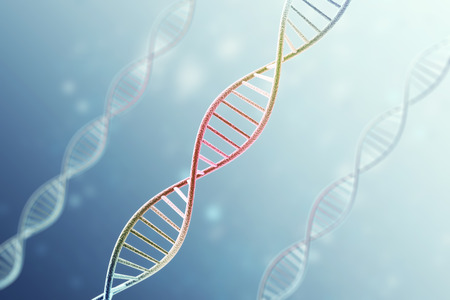 Concept of the infected, patient DNA structure on blue background.3d rendering.