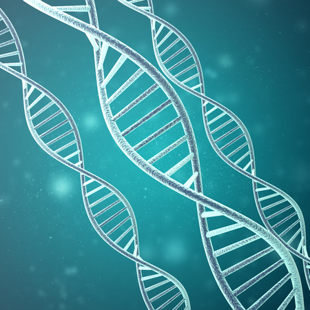 paternity: Concept of biochemistry with dna molecule. 3d rendering. Stock Photo