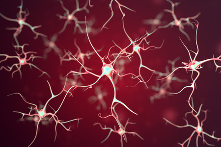 encephalon: Neurons in the human nervous system on red background with the effect of depth field. 3d rendering.
