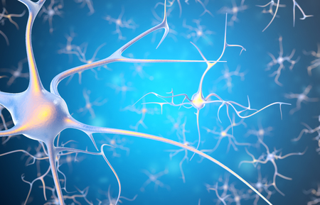 pulsing: Neurons in the brain with focus effect. 3d rendering. Stock Photo