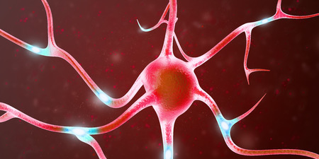 Neurons in the brain with focus effect. 3d rendering. Stock Photo
