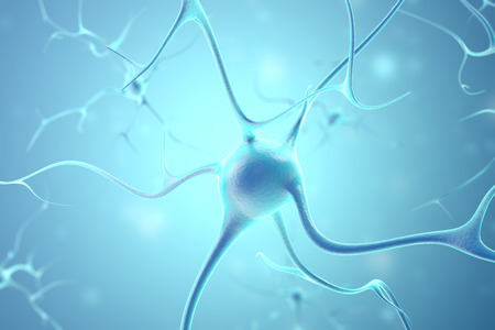 synaptic: Neurons in the brain with focus effect. 3d rendering. Stock Photo