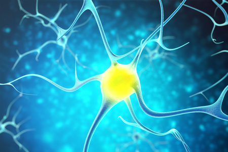 Neurons in the human nervous system with the effect of depth field. 3d rendering.