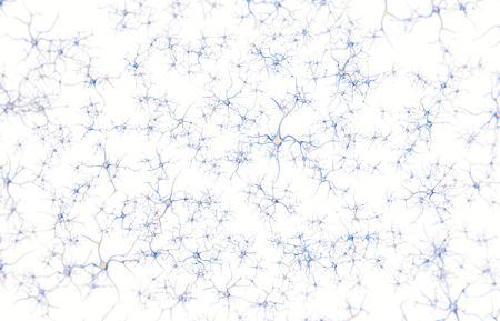 Neurone im Gehirn auf weißem Hintergrund mit Fokus-Effekt. 3D-Rendering. Standard-Bild