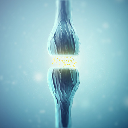 immunological: Synapse and Neuron cells sending electrical chemical signals. 3d rendering.