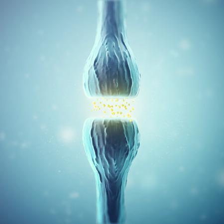 Synapse y células neurona emisora ??señales químicas eléctricos. Las 3D. Foto de archivo - 63785520
