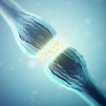 synaptic: Synapse and Neuron cells sending electrical chemical signals. 3d rendering.