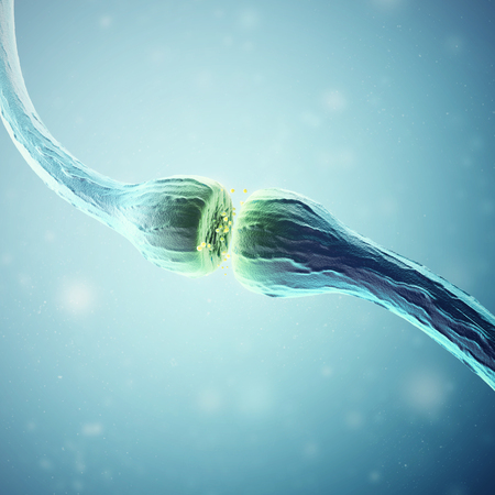 Synapse and Neuron cells sending electrical chemical signals. 3d rendering.