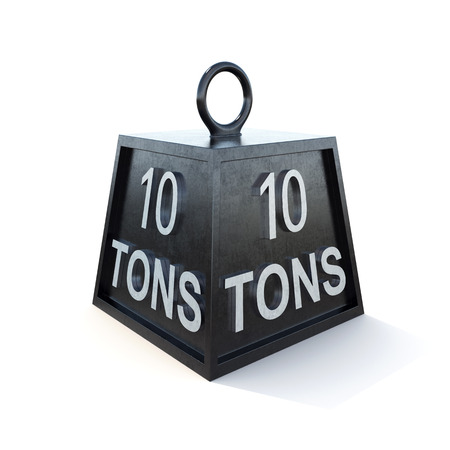 tonne: Ten 10 ton weight isolated on white background. 3d rendering.