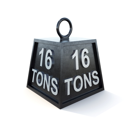 tonne: Sixteen 16 tons weight isolated on white background. 3d rendering. Stock Photo