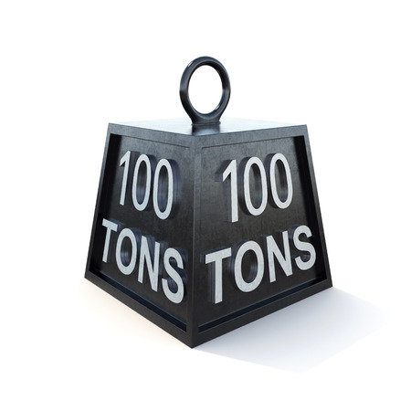 tonne: hundred 100 tons weight isolated on white. 3d rendering.