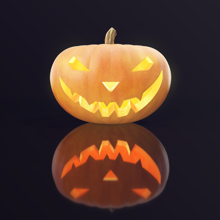 Halloween Pumpkin Jack O Lantern with glow face. 3d rendering.