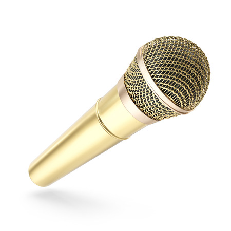 prestigious: Gold, prestigious wireless microphone isolated on white background. 3d rendering.