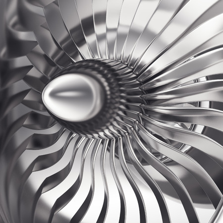turbojet: Turbo-jet engine of the plane, close up. 3d rendering.