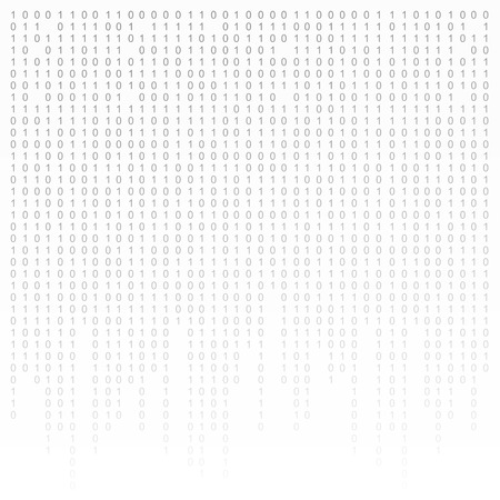 encoding: Binary code black and white background with digits on screen. Algorithm binary, data code, decryption and encoding, row matrix.