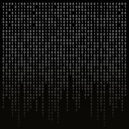 encoding: Binary code on a black background. binary algorithm, encryption, encoding matrix