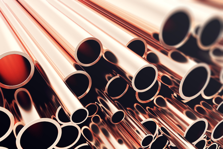 plastic conduit: Heap of shiny copper pipes with selective focus effect. 3d rendering. Stock Photo