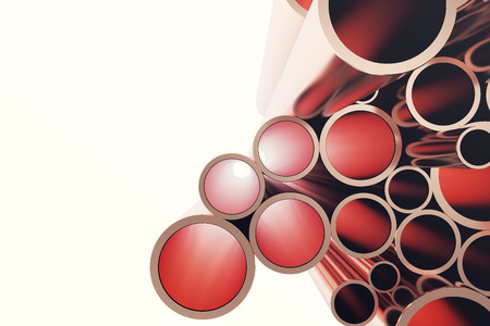 Copper pipes isolated on white. 3d rendering. Stock Photo