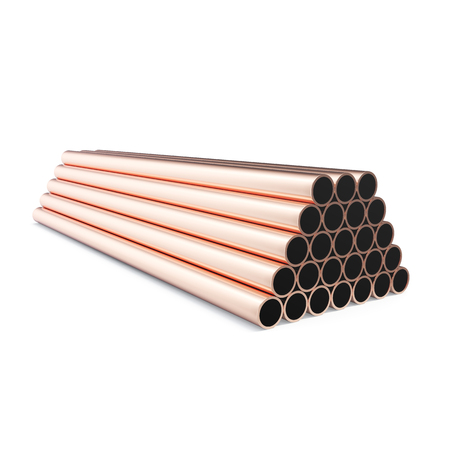 round rods: Copper pipes isolated on white background. 3d rendering.