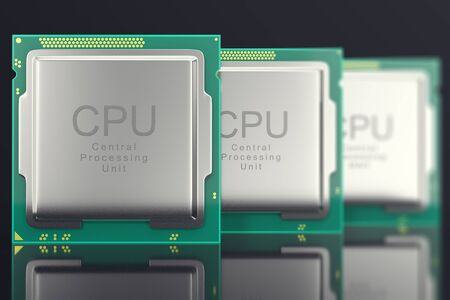 3d illustration modern multicore CPU on black background.