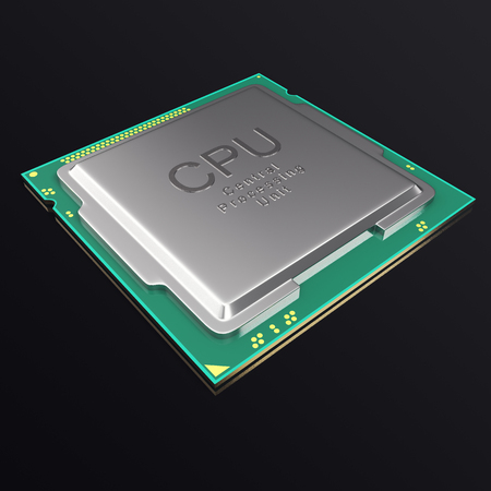 processor: 3d illustration CPU chip, central processor unit on black background Stock Photo