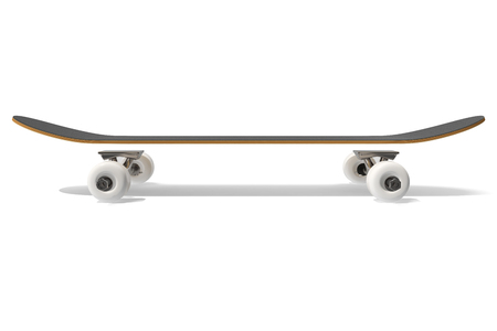 3d rendring disassembled schematic skateboard on white background, side view Stock Photo