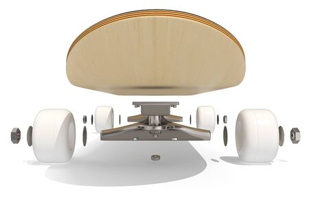 disassembled: 3d rendring disassembled schematic skateboard on white background, front view Stock Photo