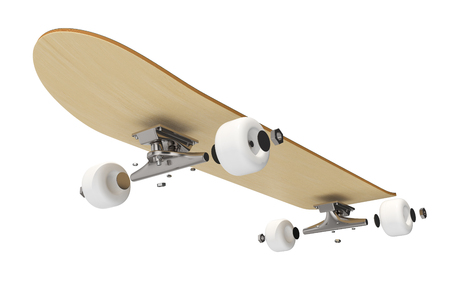 disassembled: 3d rendring disassembled schematic skateboard on white background. Stock Photo