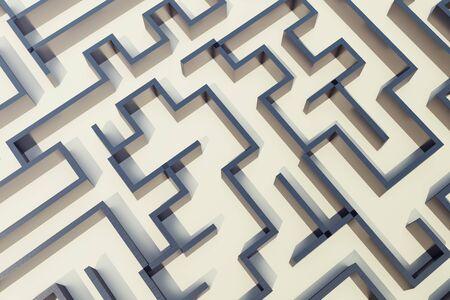 entanglement: 3d illustration cocrete labyrinth, complex problem solving concept.