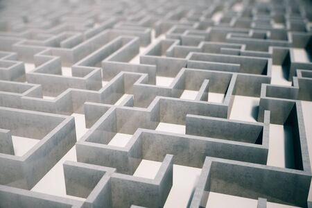 disorientated: 3d illustration cocrete labyrinth, complex problem solving concept.
