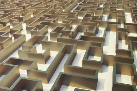 disorientated: 3d illustration gold labyrinth, complex problem solving concept