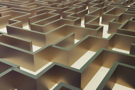 complicated journey: 3d illustration gold labyrinth, complex problem solving concept