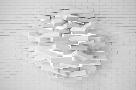 earthquake crack: Destruction of a white brick wall. 3d illustration. Stock Photo