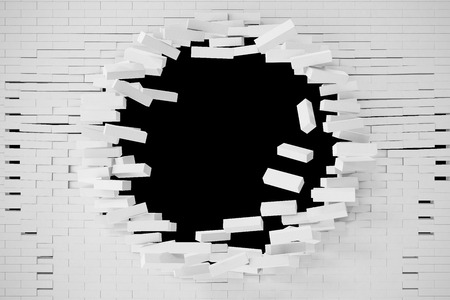 anything: Destruction of a white brick wall for pasting anything text. 3d illustration. Stock Photo