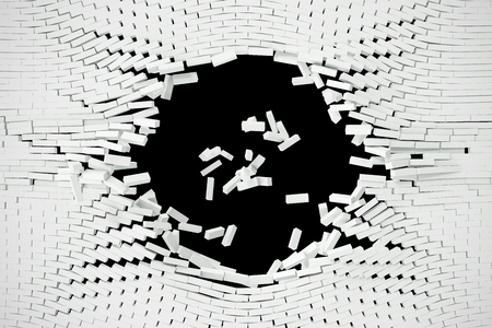 raze: Destruction of a white wall with blank text. 3d illustration.