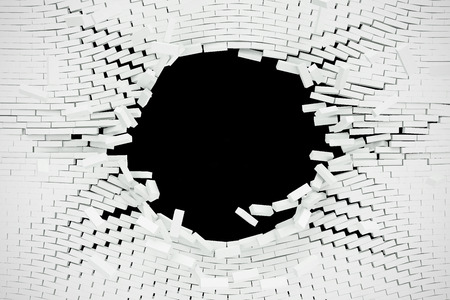 rebuild: Destruction of a white brick wall for pasting anything text. 3d illustration