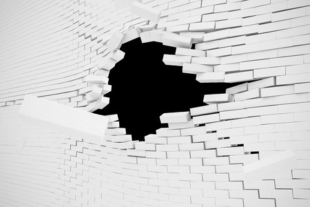 rendered: Explosion, destruction of a white brick wall, abstract background for Template for a content. 3d illustration.