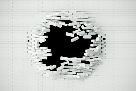 raze: Explosion, destruction of a white brick wall, abstract background for Template for a content. 3d illustration