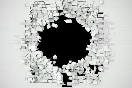 Destruction of a white brick wall for pasting anything text. 3d illustration. Stock Photo