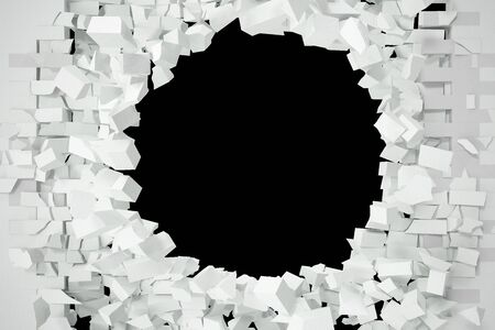 parched: Destruction of a white brick wall for pasting anything text. 3d illustration. Stock Photo