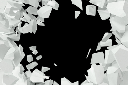 raze: Cracked, destruction of a white wall, template for a content. 3d rendering.