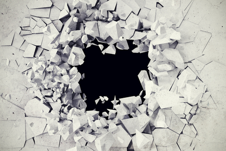 shiver: 3d rendering, explosion, broken concrete wall, bullet hole, destruction abstract background