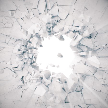 3d rendering, explosion, broken concrete wall, cracked earth, bullet hole, destruction, abstract background with volume light rays