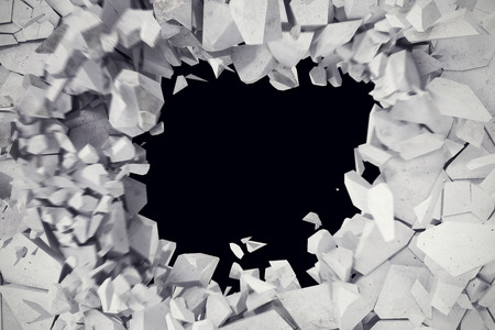 raze: 3d rendering explosion, cracked concrete wall, bullet hole, destruction abstract 3d background. Stock Photo