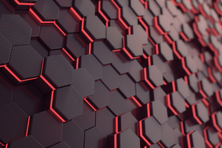 Red glowing hexagon futuristic background, 3d rendering Stock Photo