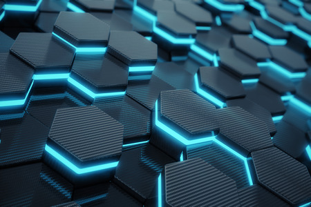 Blue abstract hexagonal glowing background, futuristic concept, 3d rendering Zdjęcie Seryjne