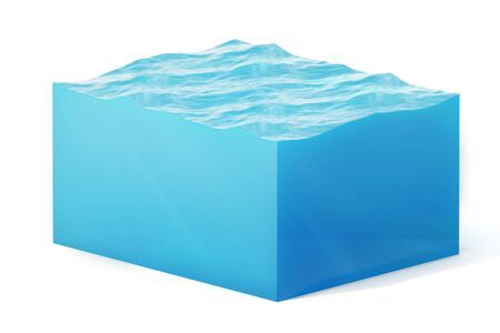 3d rendering illustration of cross section of water cube isolated on white with shadow.