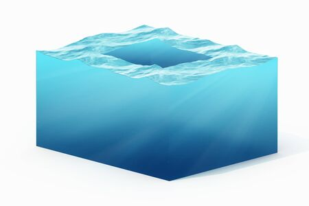 sustain: 3d rendering illustration of cross section of water cube isolated on white with shadow.