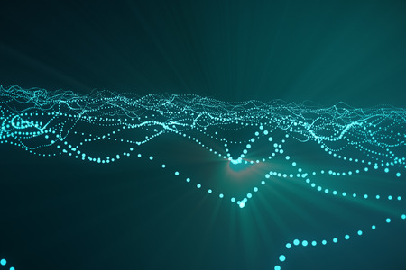 rendering: 3d rendering abstract polygonal wave background with connecting dots and lines. Connection structure. Computer HUD. Flow. Wave. Blue Lines and dots.